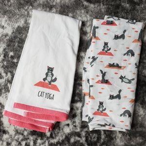 Yoga Cat Set of 2 Hand Towels